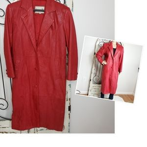 Donna Pelle red leather coat small